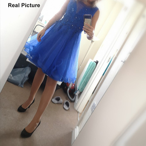 Image 5 - Dressv appliques robe de cocktail bleu marine foncé encolure dégagée sans manches longueur au genou une ligne perles retour robes de cocktail courtes