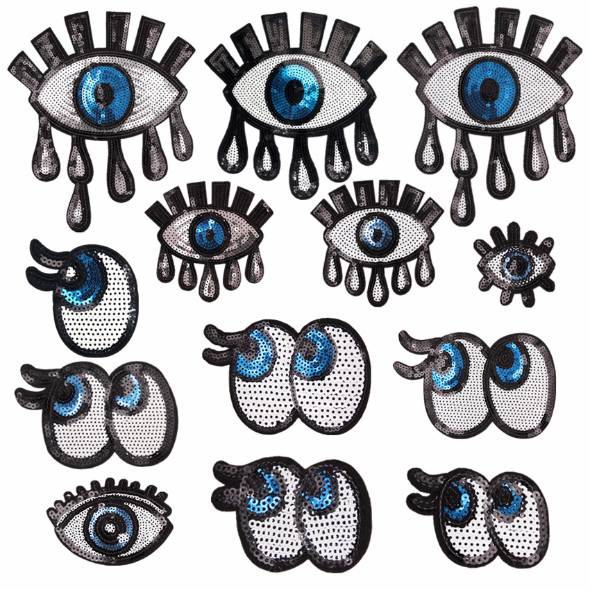 Baru Mata Besar Patch Besi Panas Di Payet Bordiran Di Pakaian Handmade Jahit Aksesoris Kain Gaun Hiasan Lencana