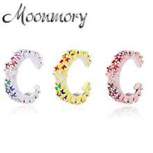 Moonmory 925 Sterling Silver Rainbow Zircon Women Clip Earrings 2020 Colorful Crystal Huggies