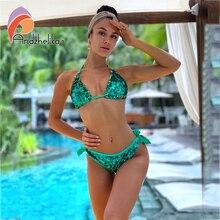 Andzhelika 2020 جديد بيكيني الوجهين الترتر مجموعة البكيني المرأة مثير البرازيلي ملابس السباحة الشاطئ ثوب السباحة بيكيني