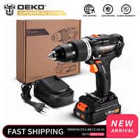 DEKO GBD20DU3 20V Max Brushless Impact Cordless Drill Electric Screwdriver 2.0 Ah Lithium-Ion Battery Home DIY Power Tool