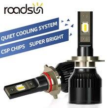 Roadsun csp chips h7 led h4 h1 carro farol lâmpadas led h11 h3 h13 h27 880 9005 9006 12000lm 80w luzes do carro automóveis lâmpada automóvel