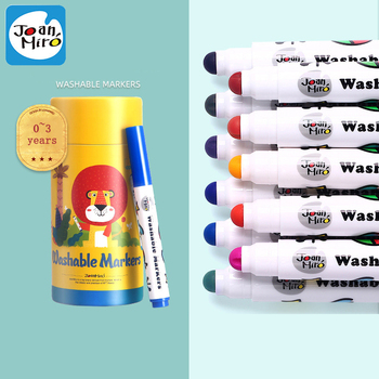Joanmiro Round Head Washable Watercolor Education Painting Pen 12/24colors Children 0~3+ Years Learn Baby Drawing Kids Art Gift