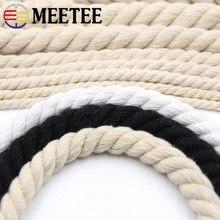 Cuerdas trenzadas de algodón para decoración del hogar, accesorios de costura textil de 5/10 metros, 6/8/10/12MM, 3 partes, 100%