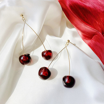 2020 New Arrival Dominated Acrylic fashion Geometric fine Women Drop Earrings contracted sweet cherry modelling long earrings image