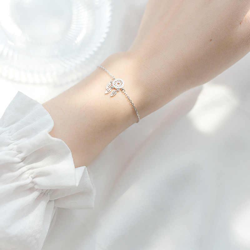 DAIWUJAN 925 en argent Sterling Zircon capteur de rêves plume joli Bracelet bijoux fins pour femmes filles fête accessoires cadeau