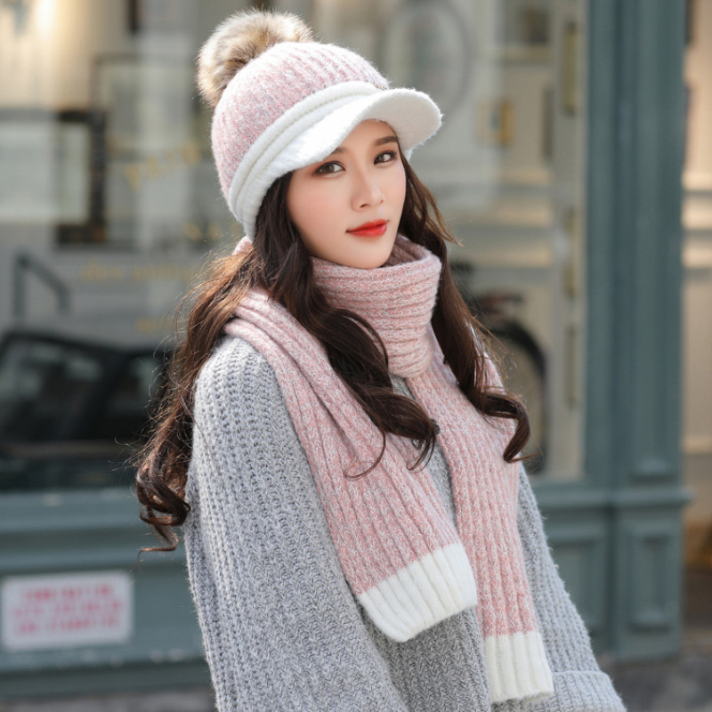 HT2874 Women Thick Warm Winter Hat Scarf Set Ladies Knitted Hat And Scarf Female Baseball Cap Scarf Set Women Winter Accessories