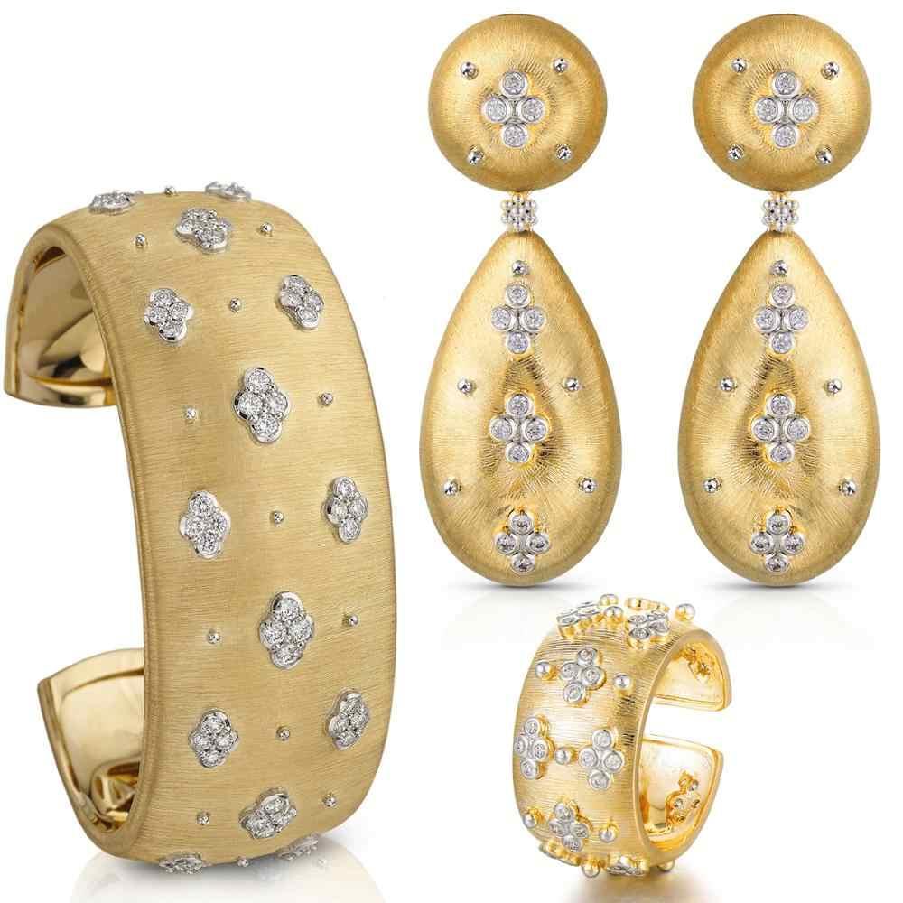 GODKI Famoso Design di Lusso 3PC Dell'anello Del Braccialetto Dell'orecchino Set Per Le Donne Da Sposa Da Sposa Cubic Zirconia Dubai Monili DEL PARTITO BOHO 2020
