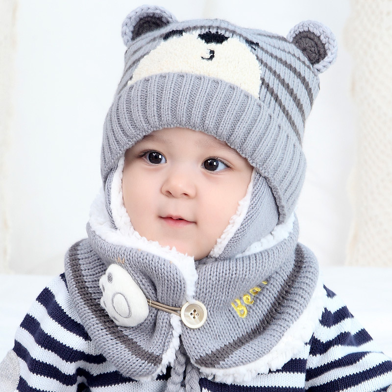 Winter Beanie Cartoon Baby  Children Knitted Hat Scarf Bear Shape Ear Wool Set Cute