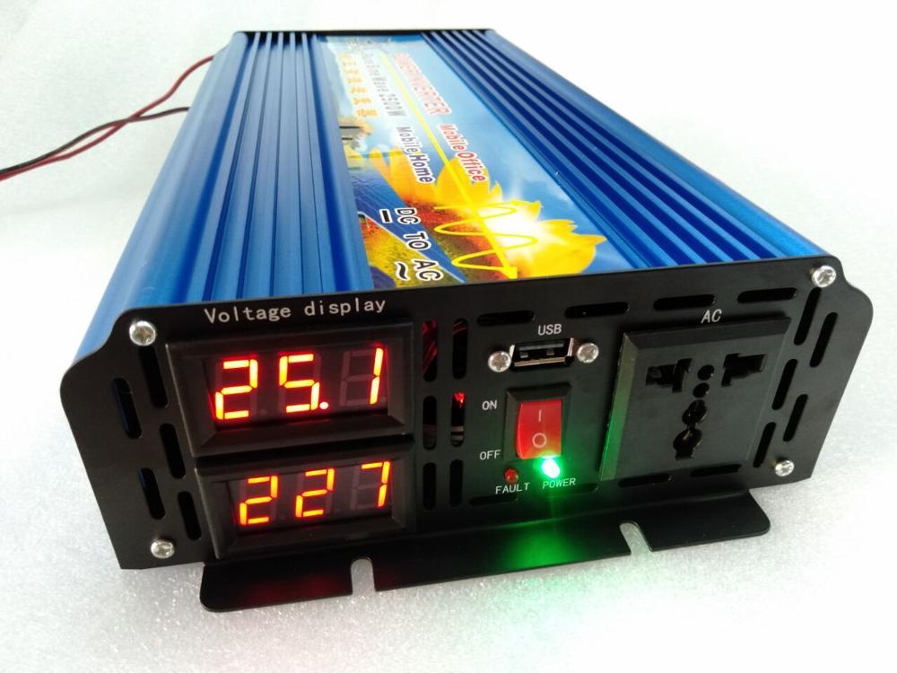 Новый высокочастотный инвертор мощности 2500 Вт с немодулированным синусоидальным сигналом и двойным цифровым дисплеем и USB-портом