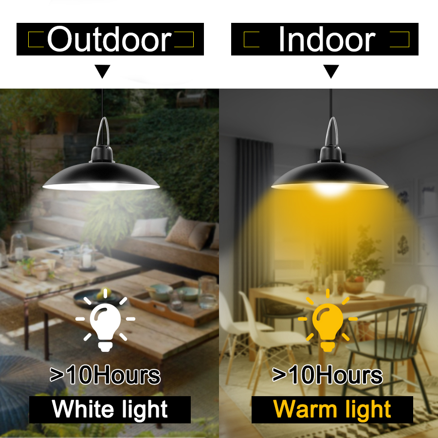 Single and Double Head Solar Pendant Light for Outdoor and Indoor With White and Warm White Lighting 8