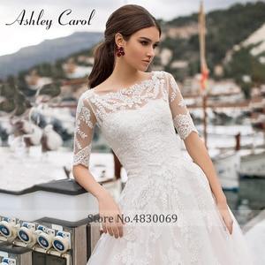 Image 3 - Ashley Carol A Line Wedding Dresses With Jacket 2020 Vestido De Noiva Beach Half Sleeve Appliques Lace Up Button Bridal Gowns