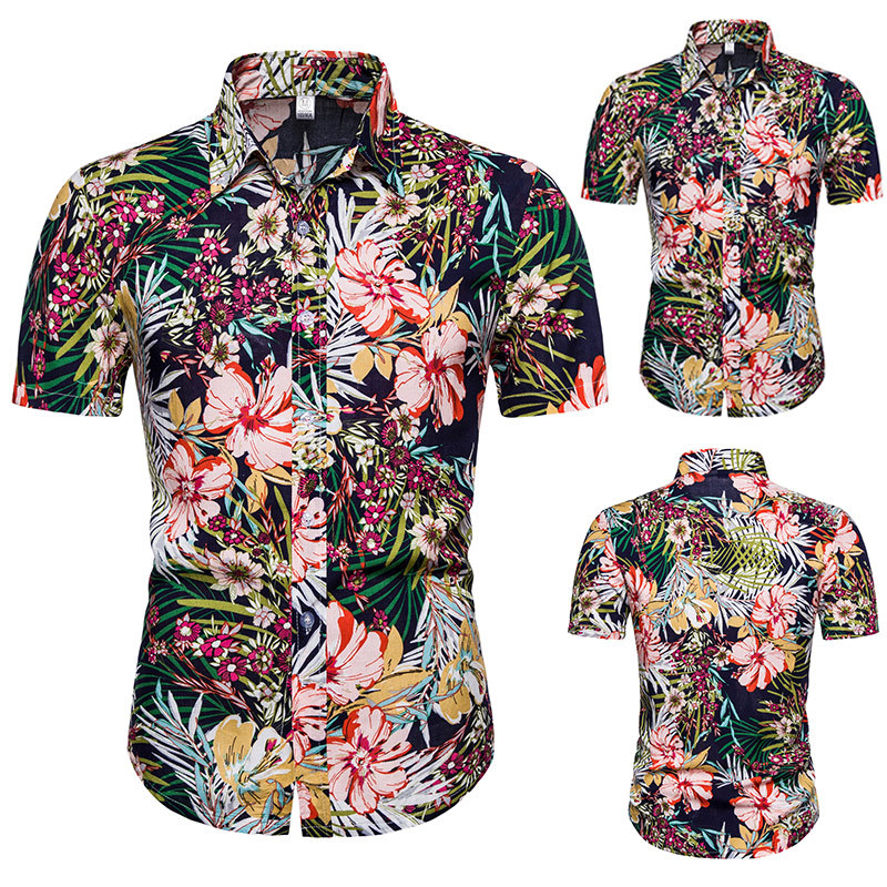 Summer Men Printed Large Size Short-sleeved Shirt Beach Quick-Drying Loose-Fit Shirt Hawaii Holiday Outing Dress