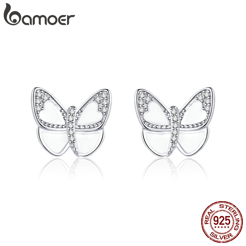Bamoer Silver 925 Jewelry White Enamel Butterfly Stud Earrings For Women 925 Sterling Silver Pins Mode Female Oreilles SCE876