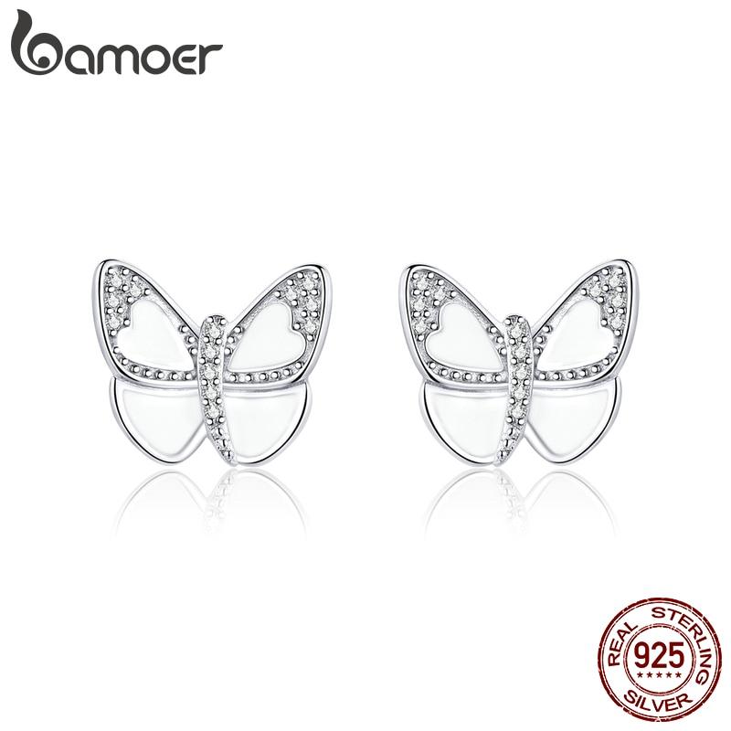 Bamoer Silver 925 Jewelry White Enamel Butterfly Stud Earrings For Women 925 Sterling Silver Pins Mode Female Oreilles SCE876