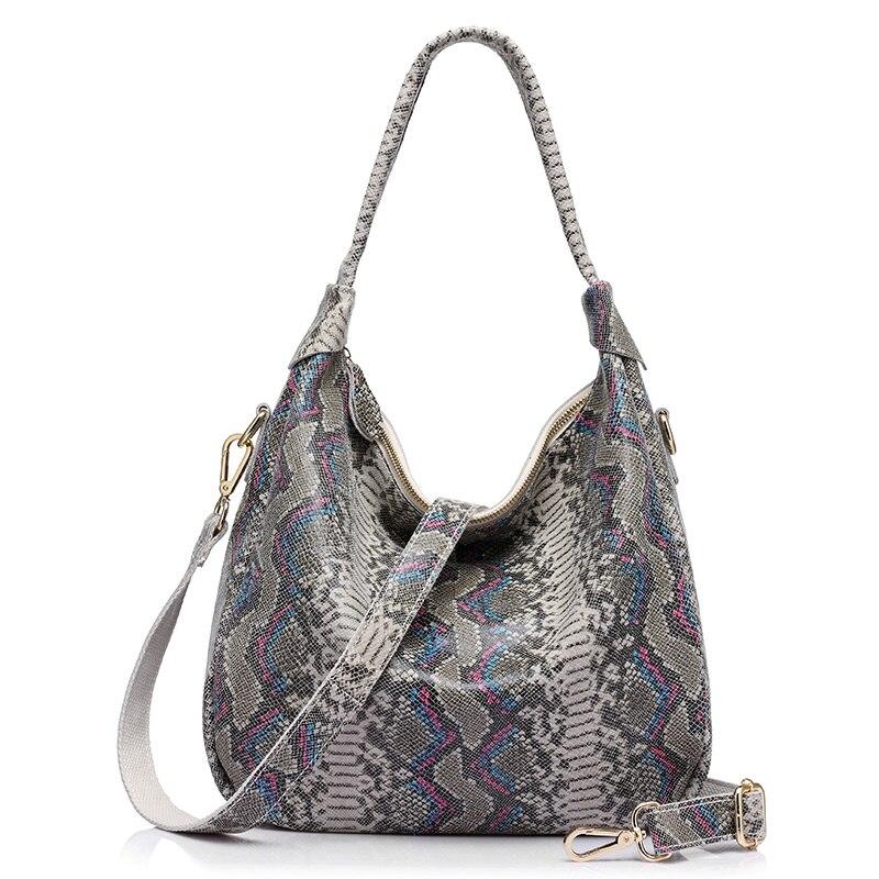 REALER women shoulder bag genuine leather large handbags for women with serpentine ladies crossbody bag big