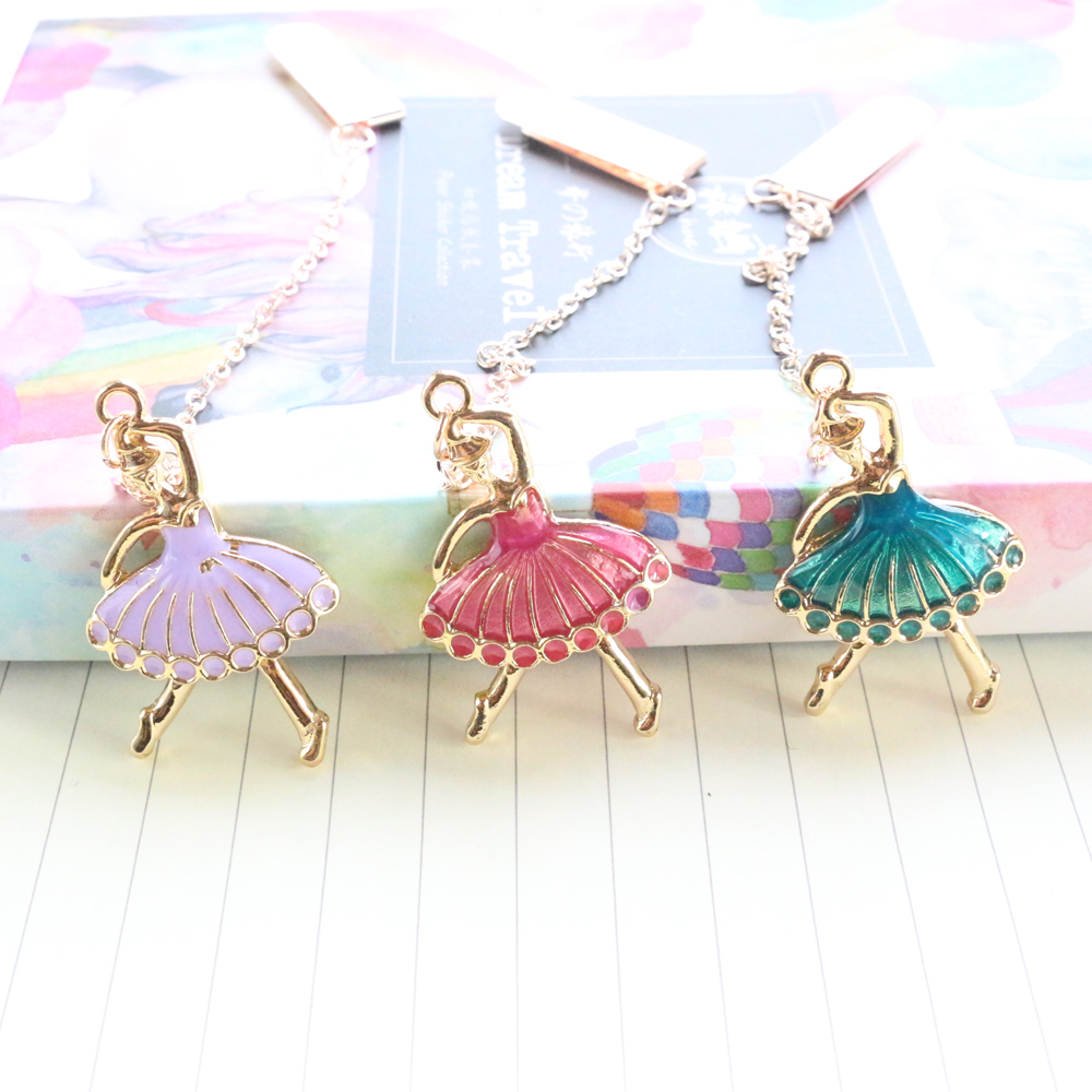 Domikee Cute Kawaii Dressing Girl Shape Office School Metal Bookmark For Book School Kid Notebook Hanging Accessories Stationery