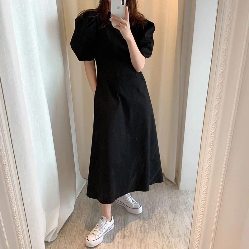 Retro Fancy Office Lady Black White One Piece Long Dress Puff Sleeve Simple Design Robe Longue Vestido Largo Dresses Aliexpress