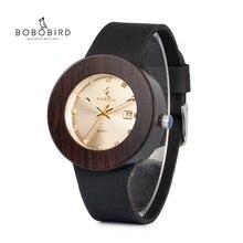 בובו ציפור גברים ונשים עץ שעונים עם עור אמיתי רצועת לוח שנה תצוגת שעון תפקיד גברים Relogio Masculino זרוק חינם