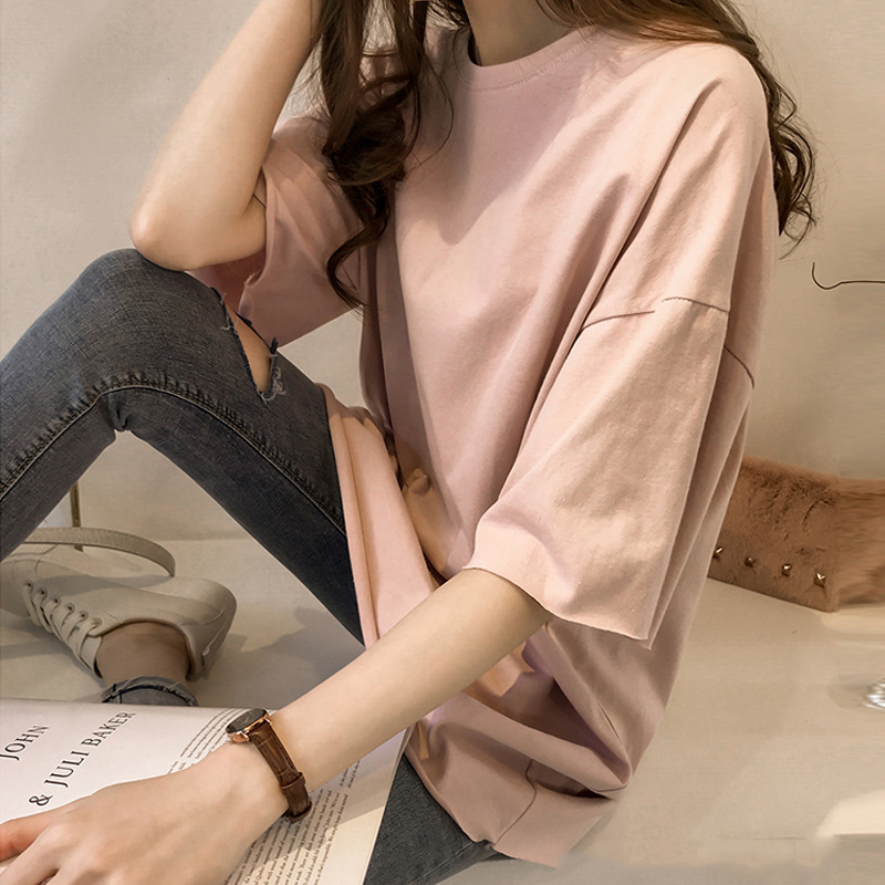 2019 Summer Women's T-shirt New Candy Color T-shirt Female Short-sleeved Students Loose Korean Ins Half-sleeved Clothes