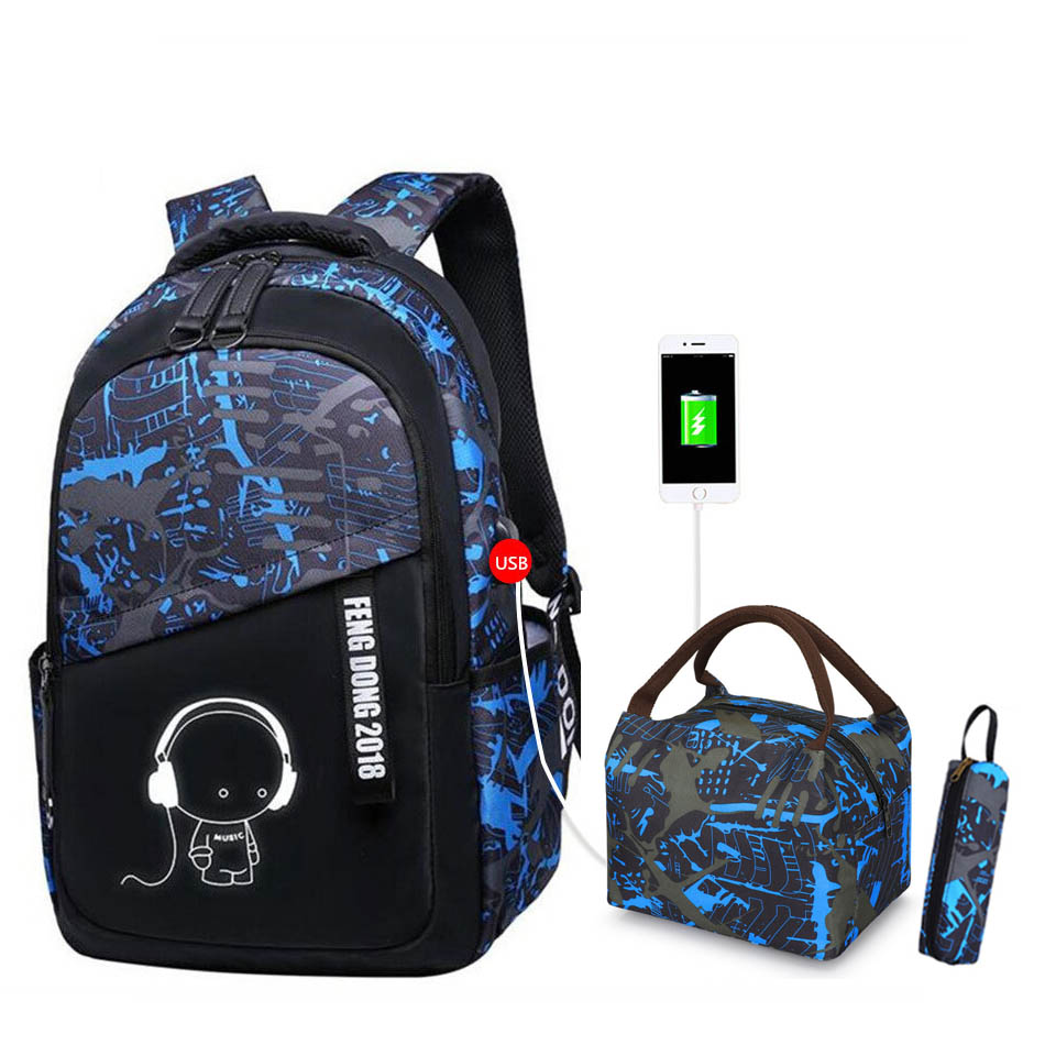 Cool Boys Bag Set Waterproof School Backpack For Boys Teens Travel Daypack Kids Elementary Backpack Middle School Bookbag