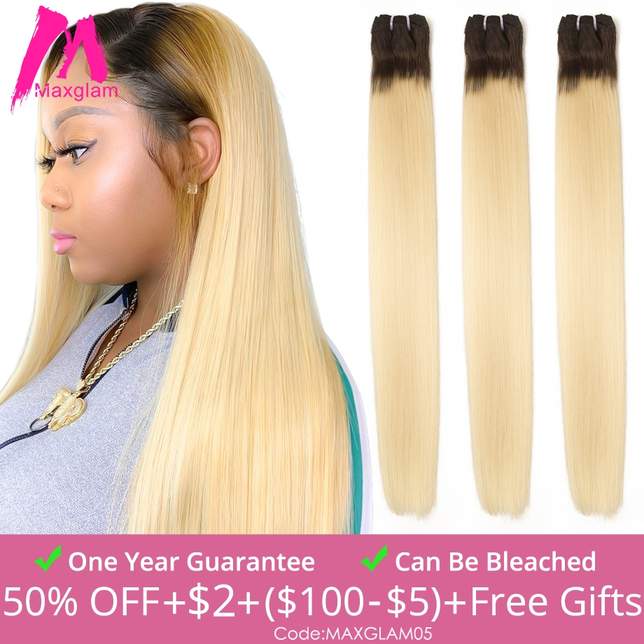 Brazilian Raw Virgin Human Hair Weave Bundles Straight Short Ombre T1B/613 Long 30 inch for Black Women 1 3 4 Extension Bundles image