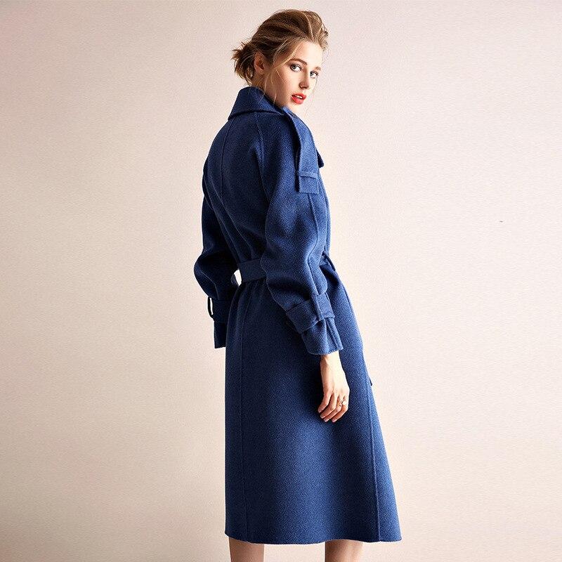 Abrigo de invierno de mujer estilo gabardina de camel de doble cara de lana de Cachemira prendas de vestir 2019 Otoño de talla grande abrigos para mujer largo envío gratis - 4