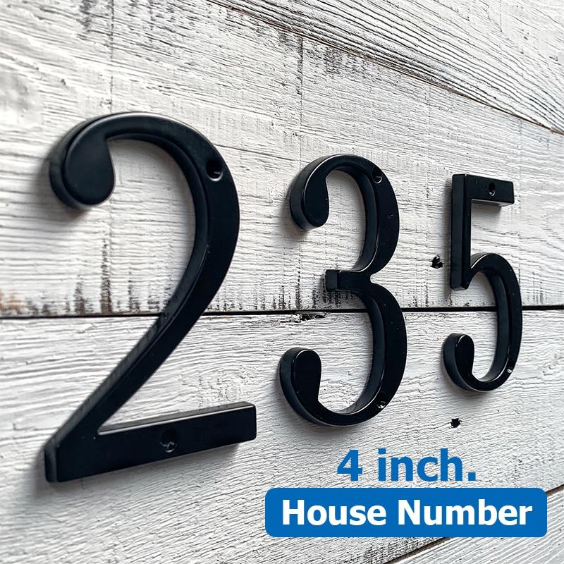 "Black 4"" 101mm Modern House Number for House Door Address Home Number Digits Zinc Alloy  Big Mailbox Address Sign #0-9"