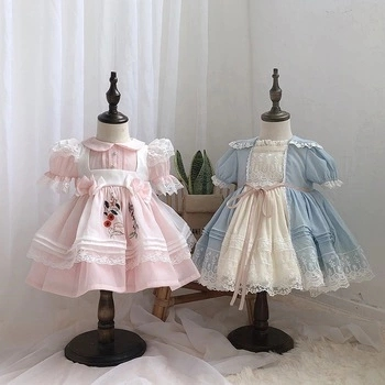 Infant Baby Dresses Spanish Floral Vintage Girl's Dresses Wholesale Kids Children's Clothes Boutiques