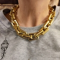 Steampunk Große Schloss Kubanischen Kette Gold Farbe Halskette Schmuck Frauen Männer Quadratische Geometrie Dick Chunky Schlüsselbein Kette Charms Geschenke