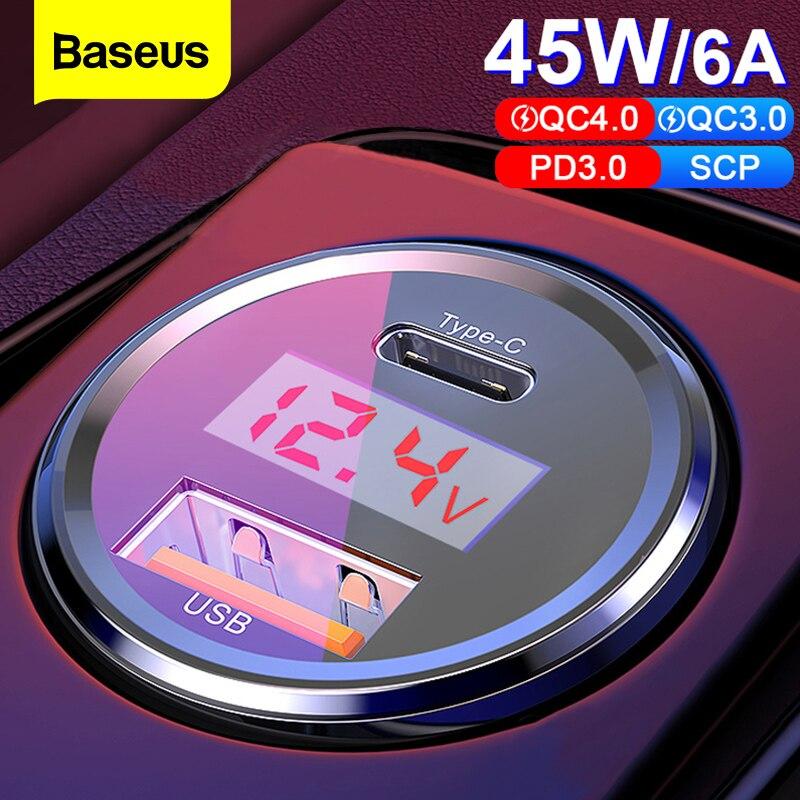 Cep telefonları ve Telekomünikasyon Ürünleri'ten Araba Şarj Cihazları'de Baseus 45w hızlı şarj 4.0 3.0 USB araç şarj cihazı iPhone Xiaomi Samsung QC4.0 QC3.0 QC tipi C PD araba hızlı cep telefonu şarj cihazı title=