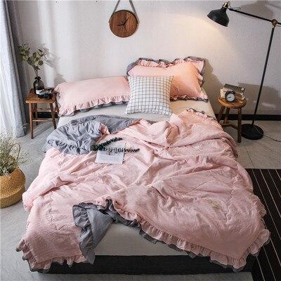 Однотонное розовое, зеленое, тонкое летнее одеяло, покрывало для кровати, лоскутное одеяло, подходит для взрослых, детей, домашний текстиль - Цвет: C