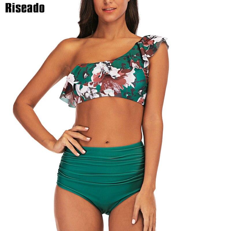 Riseado One Shoulder Sexy Bikini Set Swimsuit Female High Waist Swimwear Women 2019 Ruffle Floral Printing Push Up Biquini in Bikinis Set from Sports Entertainment