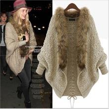 Women's cardigan 2020 spring and autumn winter popular women's new style imitation raccoon dog hair collar bat sleeve
