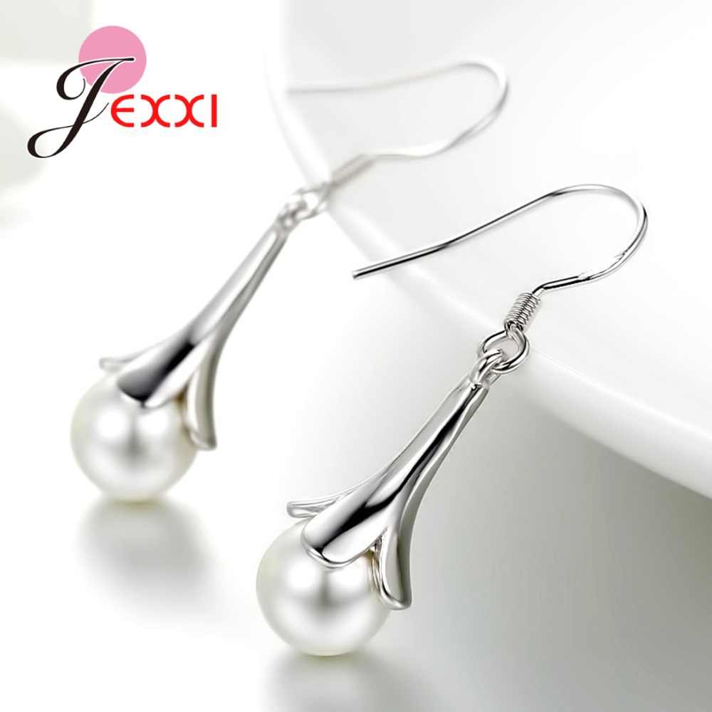 High Quality Fashion 925 Sterling Silver Round Pearl Pendant Jewelry Sets Fast Delivery Romantic Pearls Flower Earrings Necklace