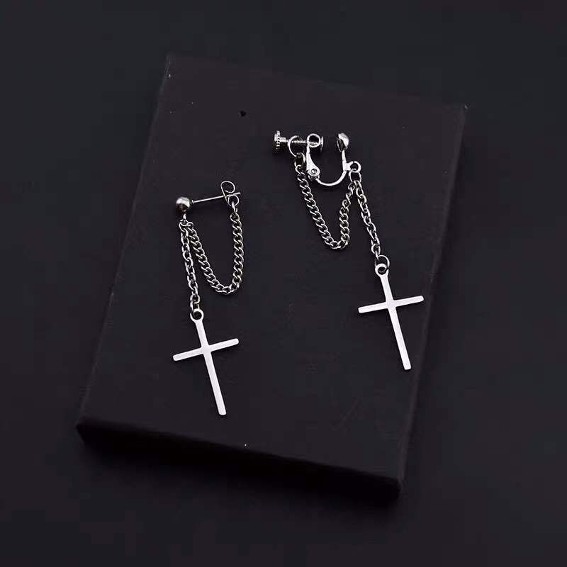 Japan And South Korea Harajuku Cool E-girl Girl Cross Chain Pendant Earrings For Women Men Bff Street Hip Hop Jewelry