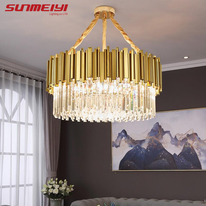 Luxury LED Crystal Chandeliers Lighting For Kitchen Living room Loft Hanging Chain Nordic Gold Chandelier Bedroom Lamp