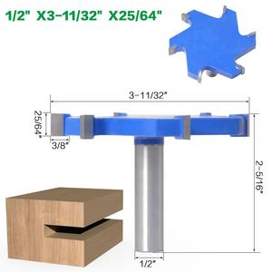 """Image 5 - SHERUI 1pc 1/2"""" Shank 12mm shank 6 Edge T Type Slotting Cutter Woodworking Tool Router Bits For Wood Industrial Grade Milling Cu"""