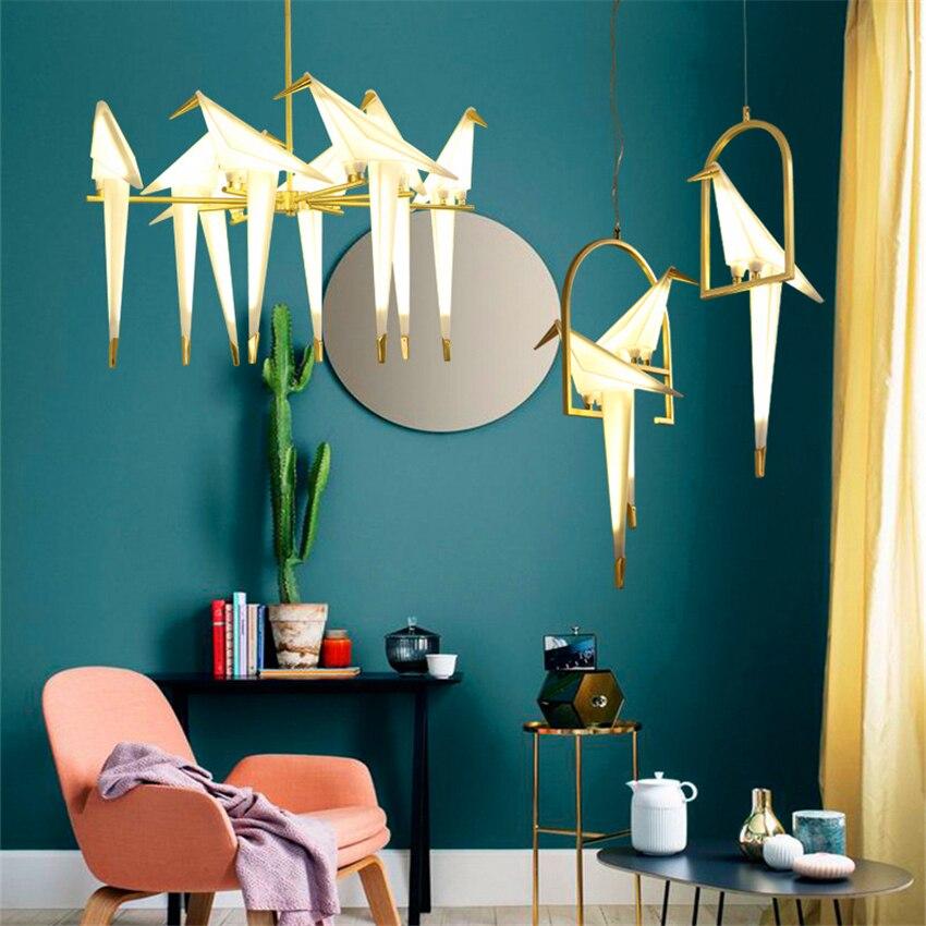 Nordic Bird LED Chandelier Lights Pendant Lamp Bird Chandelier Ceiling Lamp Living Room Loft Decor Home Hanging Light Fixture