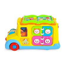 Campus Bus Plastic Creative Cognition Animal Call Sound Electric ChildrenS Toy Car