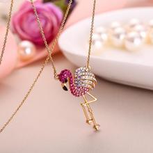 Collar con colgante de cristal con forma de flamenco para mujer, joyería de fiesta, bisutería, péndulo