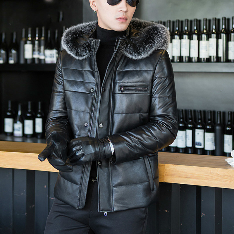 Genuine Leather Jacket Men Winter Coat Hooded Korean Men's Down Jacket Large Fur Collar Sheepskin Jackets A8313 KJ799