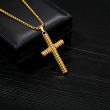 Cross Pendant Necklace for Men Hip Hop Gold Titainum Steel Choker Gothic Long Chain for Women Jewelry Punk Necklaces BFF цена