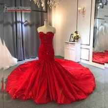 Decote sem alças red sereia do vestido de casamento