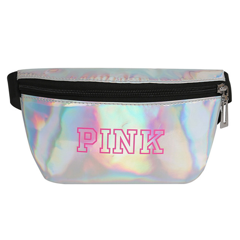 New Holographic Fanny Pack Pink Bum Bag Laser Waist Bag Waterproof Man Purse Chest Bag Saszetka Na Biodra Sac Banane