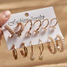 Trendy Pearl Zircon Temperament Earrings Women Geometric Metal Ear Studs 9-piece Set 2021 European and American New Jewelry
