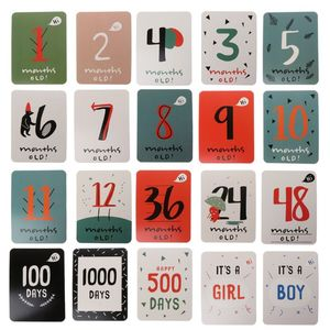 20Pcs/Set For Memory Baby Pregnant Women Monthly Photograph Sticker Fun Month 1-12 Milestone Cards F3ME
