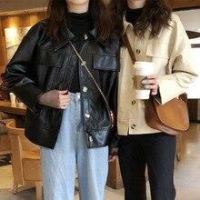 Pu Leather Jackets Women Outwear Casual Loose Long Sleeve Streetwear Autumn Coat