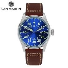 San Martin Pilot Mannen Mechanische Roestvrijstalen Horloge Sapphire See Through Case Back Lichtgevende Lederen Band 100M Waterdicht