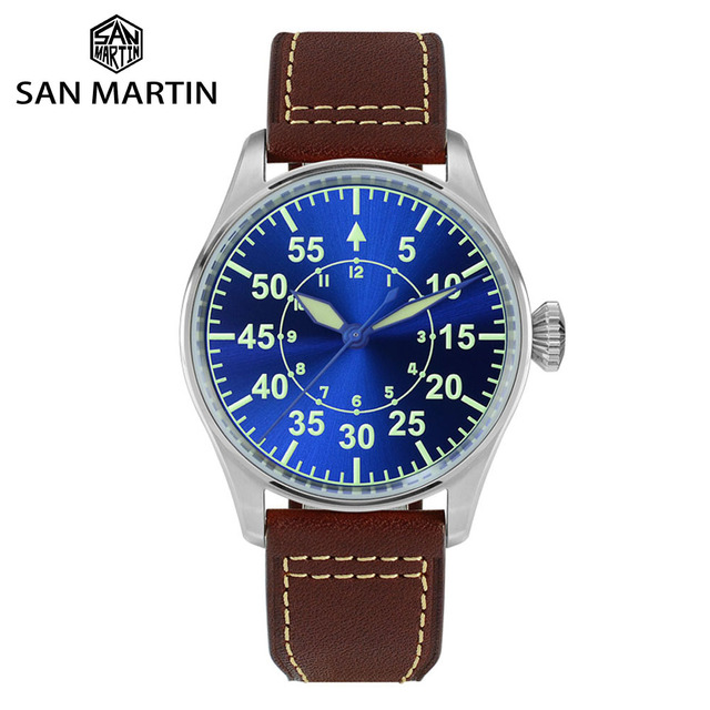 San Martin Pilot Men Mechanical Stainless Steel Watch Sapphire See through Case Back Luminous Leather Strap 100M Waterproof